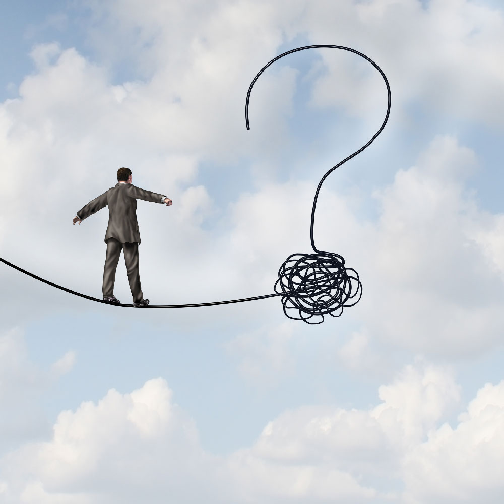 Illustration of man walking on tight rope with a question mark ending.